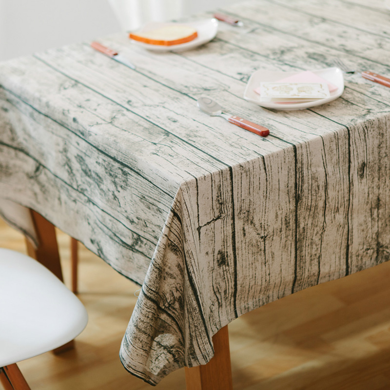 Superb Vintage European Style Table Cloth Cotton Linen Rectangular Tablecloth  Wooden Grain Dustproof Home Decoration Table Cover