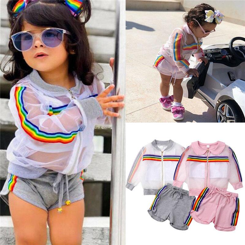 1-7 T Kinderen Meisjes Kleding Set Zomer Peuter Baby Mesh Rits Jas + Vest + Shorts Kinderen Regenboog Outfit 3 Pcs Producten Hot Sale
