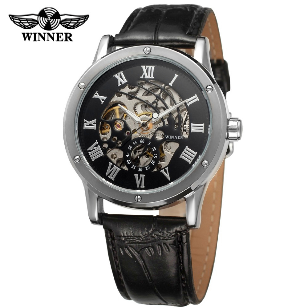 Fashion WINNER Brand Men Roman Number Skeleton Leather Band Watch Mechanical Hand Wind Wristwatches Gift Box Relogio Releges silver wings silver wings кольцо 21sr0953b 97