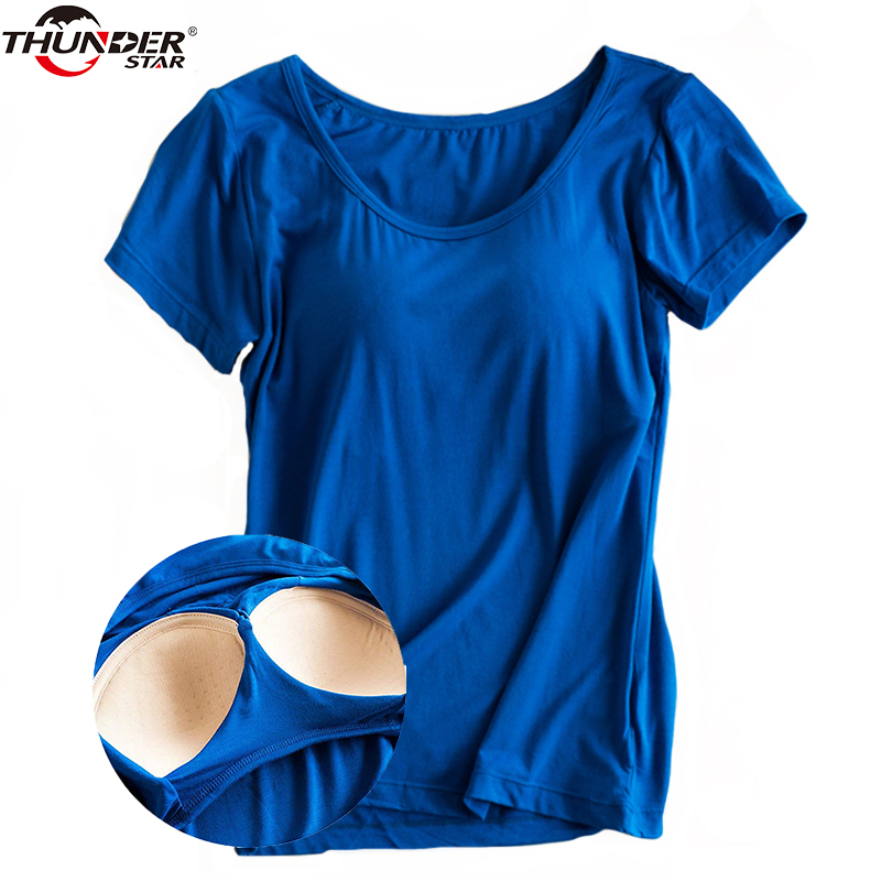 Modal Construído na Sutiã Acolchoado T-shirt das Mulheres de Manga Curta Respirável Roupas Femininas Assentamento T Camisa Tops Casual Senhora Topo tees