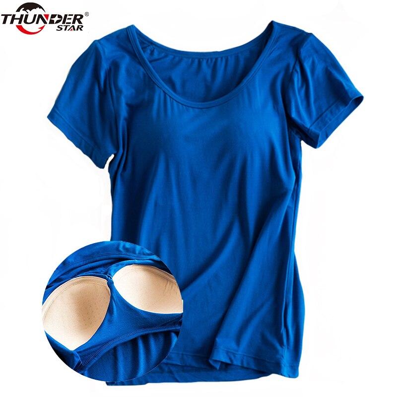 Modal construído em acolchoado sutiã camiseta feminina de manga curta respirável roupas femininas bottoming t camisa topos casual senhora superior t