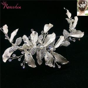 Image 3 - 手作りゴージャスな葉結婚式の毛の櫛花嫁のヘアアクセサリージュエリー光沢のあるクリスタルウェディングかぶとRE3376