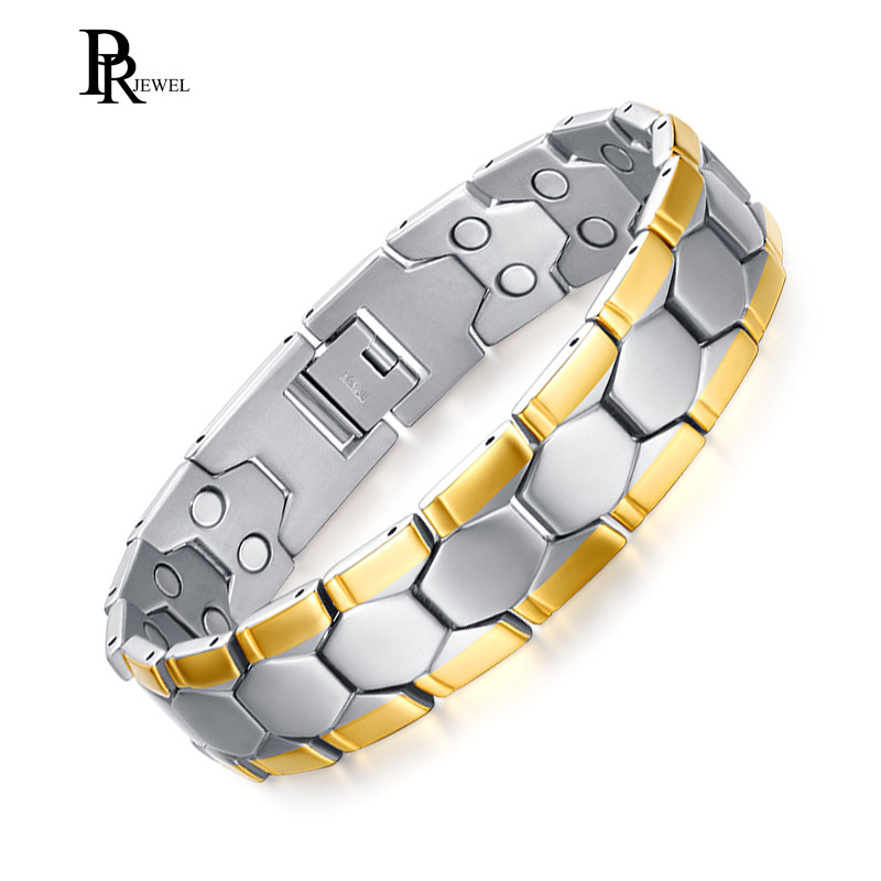 Therapy Bracelet Men Jewelry Double Magnetic 3000 Gause Enhanced Healing Stainless Steel Chain