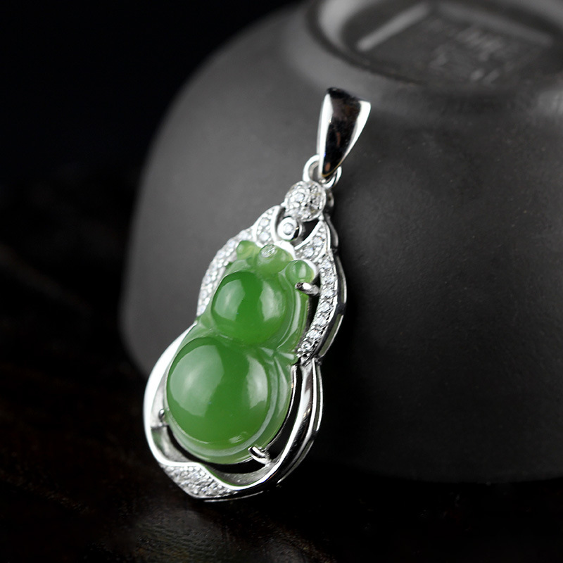 купить S925 sterling silver jewelry original handmade inlay and Tian Biyu gourd retro jewelry jewelry free shipping по цене 3772.96 рублей