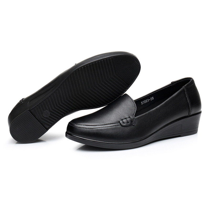 Image 5 - DONGNANFENG Mother Old Female Women Shoes Flats Cow Genuine Leather Loafers Round Toe Slip On PU Superstar Size 35 41 JN 58661-in Women's Flats from Shoes