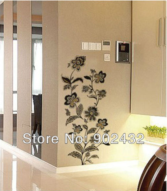 Buy black and gold flowers removable wall for Decoration porte sticker