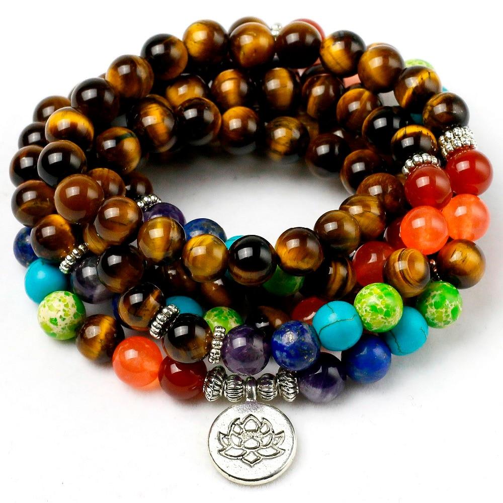 Natural Tiger's Eye 7 Chakra Bracelet Men Women 8mm Stone Beads Healing Balance Reiki Prayer Yoga Strand Bracelets Jewelry
