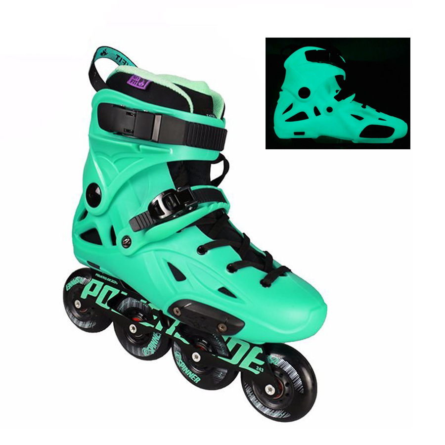 Original 2018 Powerslide Imperial Florescent Light Professional Slalom Inline Skates Roller Free Skating Shoes Sliding Patines