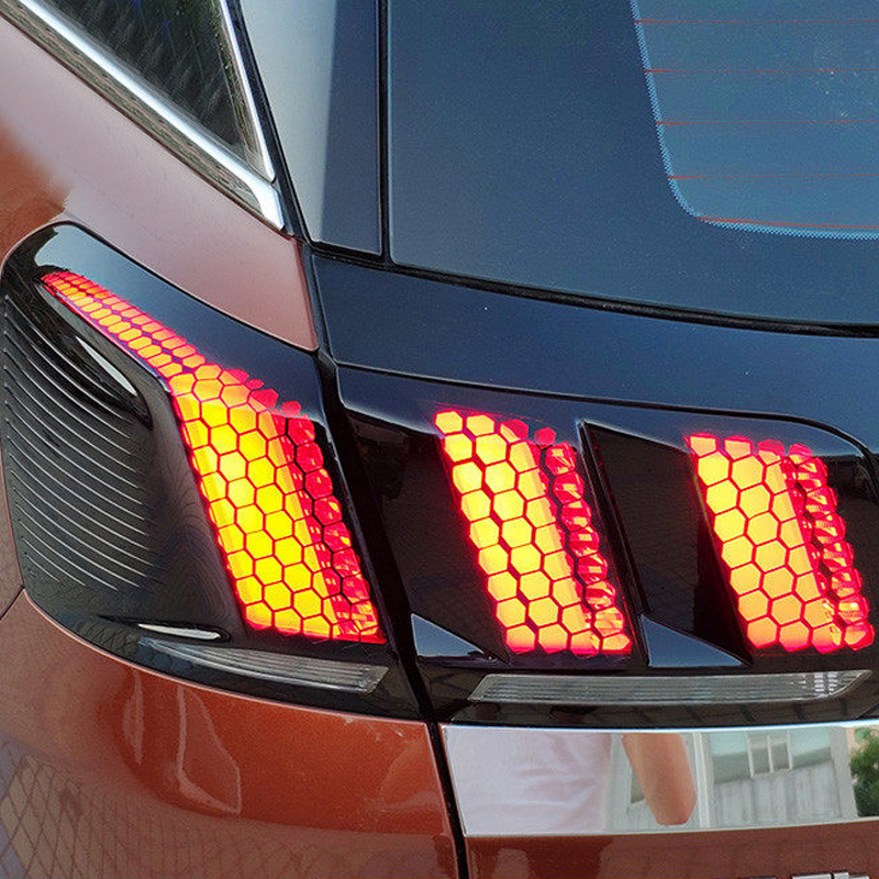 For Peugeot 2016 2017 2018 3008 GT / 2017 2018 5008 GT Rear Taillight Tail Light Lamp Honeycomb Sticker Cover