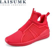 цены 2019 LAISUMK Men Casual Shoes Breathable Slip-On Flats EU 39-44 Men Comfortable Shoes Black / White / Red Color