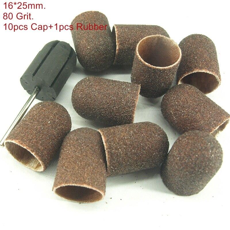 16 25mm 10pcs Sanding Bands Block Caps Rubber Mandrel Grip Manicure Pedicure Tools Electric font b