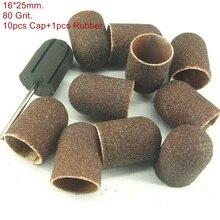 16*25mm 10pcs Sanding Bands Block Caps + Rubber Mandrel Grip Manicure Pedicure Tools Electric Nail Drill Polishing Accessories