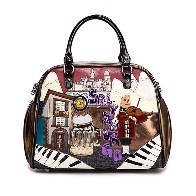 2018 Printing Cartoon Women Shoulder Bag Italy Braccialini Handbag Retro Handmade Bolsa Feminina Famous Luxury Designer