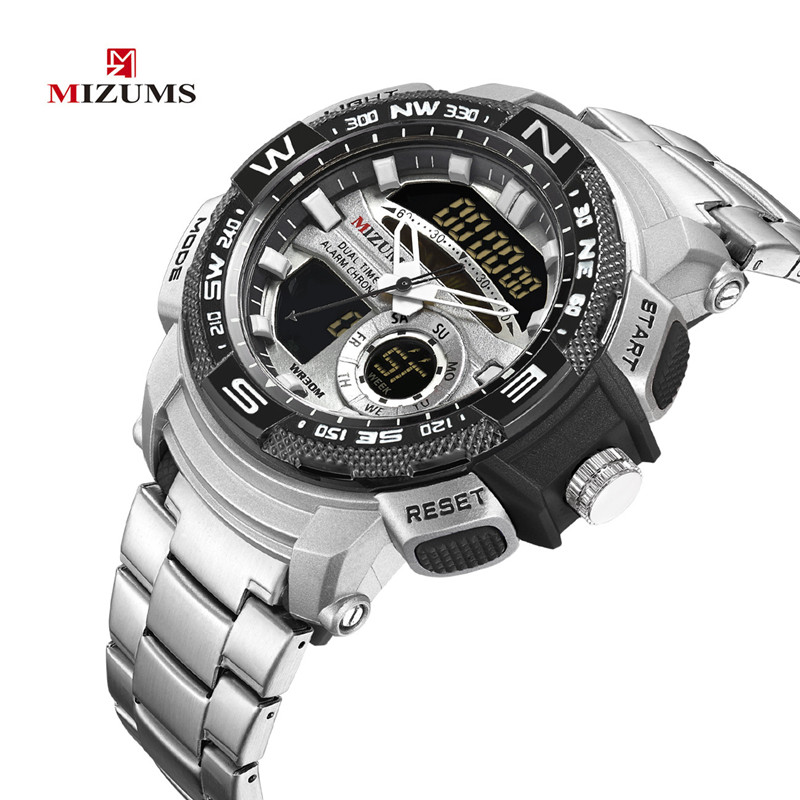 Watches Stainless-Steel MIZUMS Dual-Time Military Clock Band Wrist Quartz Digital Gold