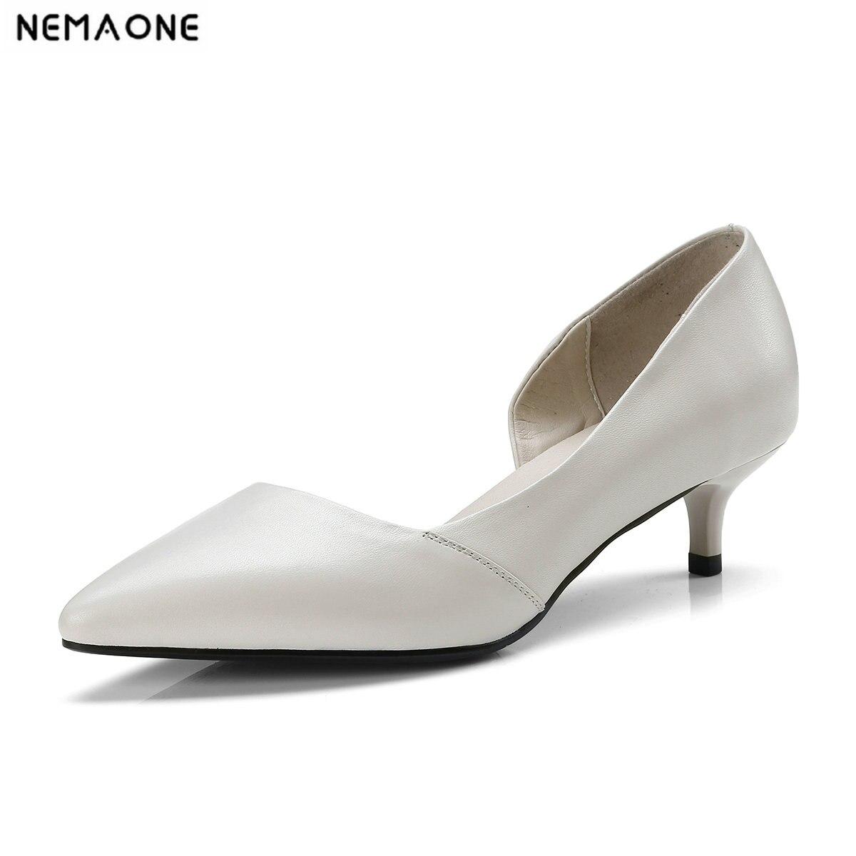 NEMAONE Genuine Leather Women 4cm Stiletto High Heel Shoes Pointed Toe Retro Ladies Slip on Pumps