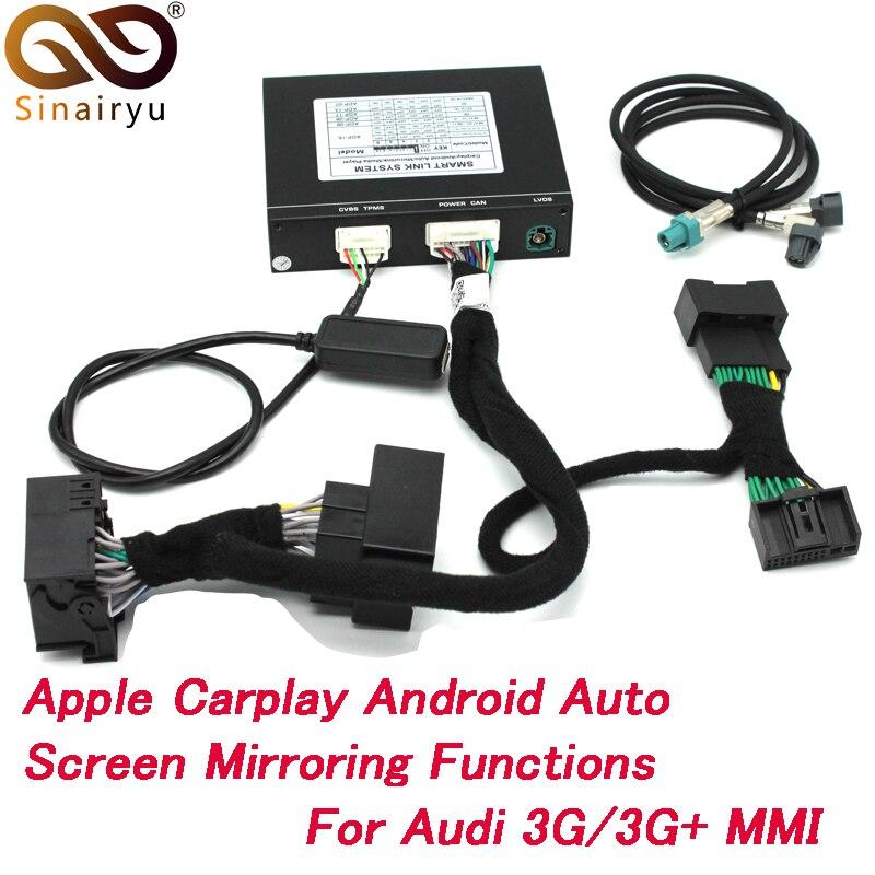 Sinairyu Apple Carplay Android Auto DVD para A1 A3 A4 A5 A6 Q3 Q5 Q7 Original de la pantalla de actualización de MMI AirPlay de iOS sistema