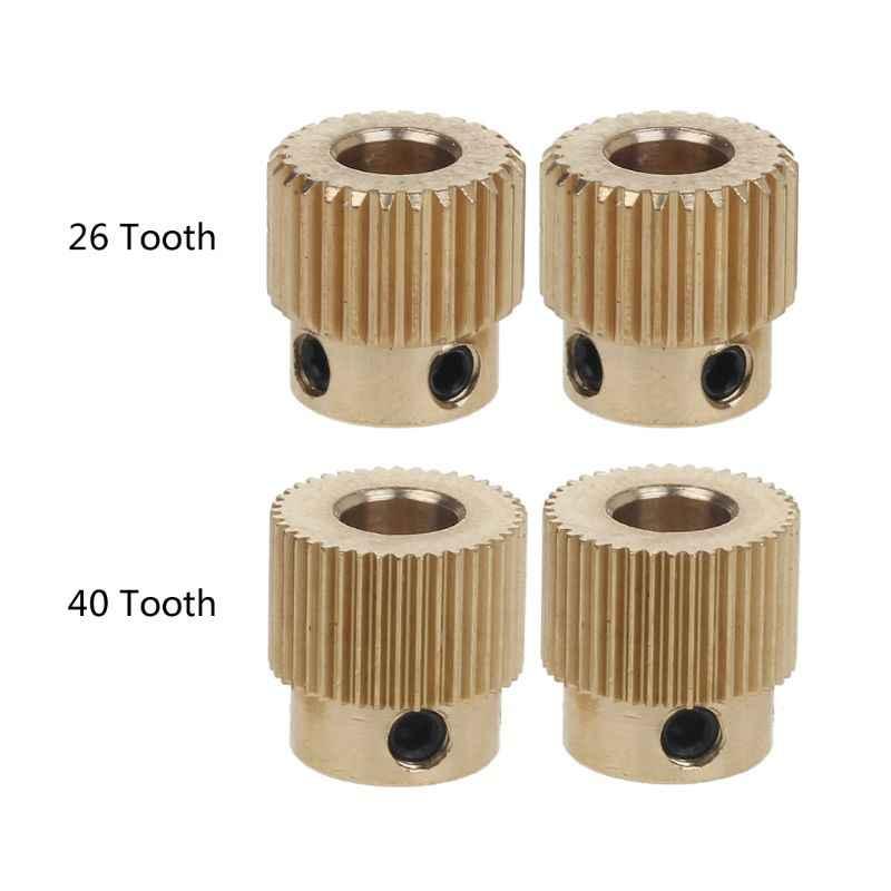 2 Pcs Mk7 MK8 Engrenagem 26/40 Dente Dentes Da Engrenagem Da Unidade de Alimentação de Extrusão Engrenagem Roda De Extrusão para anet Ender CR-10 3D impressora