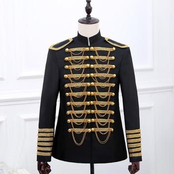 New 2018 Male formal dress performance wear men's clothing costume  dj black gold fashion royal