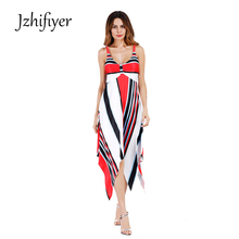 womens spaghetti strap summer femme dress one-piece mix stripe new beach fashion vestido polyester plus size S-2XL