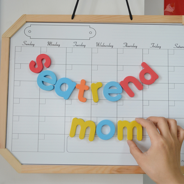 Magnetic calendar white color drawing board wooden frame clear ...