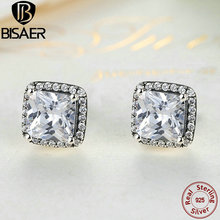 925 Sterling Silver Timeless Elegance Clear Cubic Zircon Square Small Stud Earrings For Women Sterling Silver Jewelry Brincos