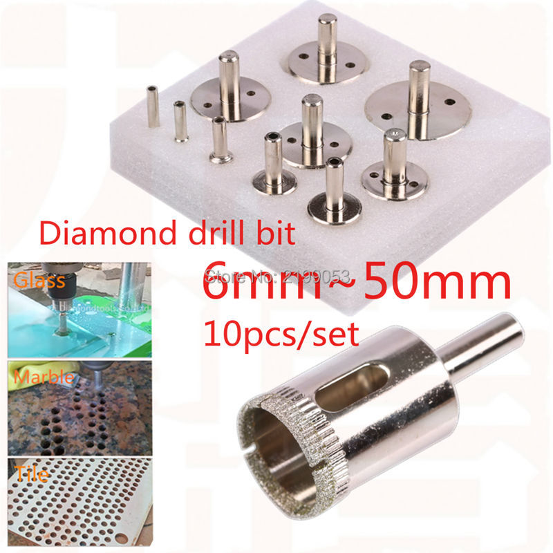 10pcs diamond coated core hole saw drill bit set diamond drill bit glass hole saw for tile ceramic hole drilling 6~50mm stones bricks concrete cement stone 50mm wall hole saw drill bit 200mm round rod