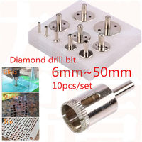 10pcs diamond coated core hole saw drill bit set diamond drill bit glass hole saw for tile ceramic hole drilling 6~50mm