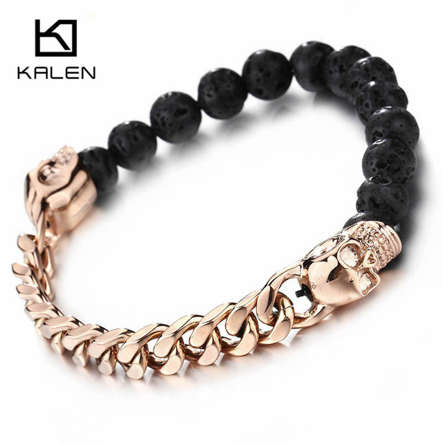 Kalen African Black Lava Beads Bracelets Men Stainless Steel Rose