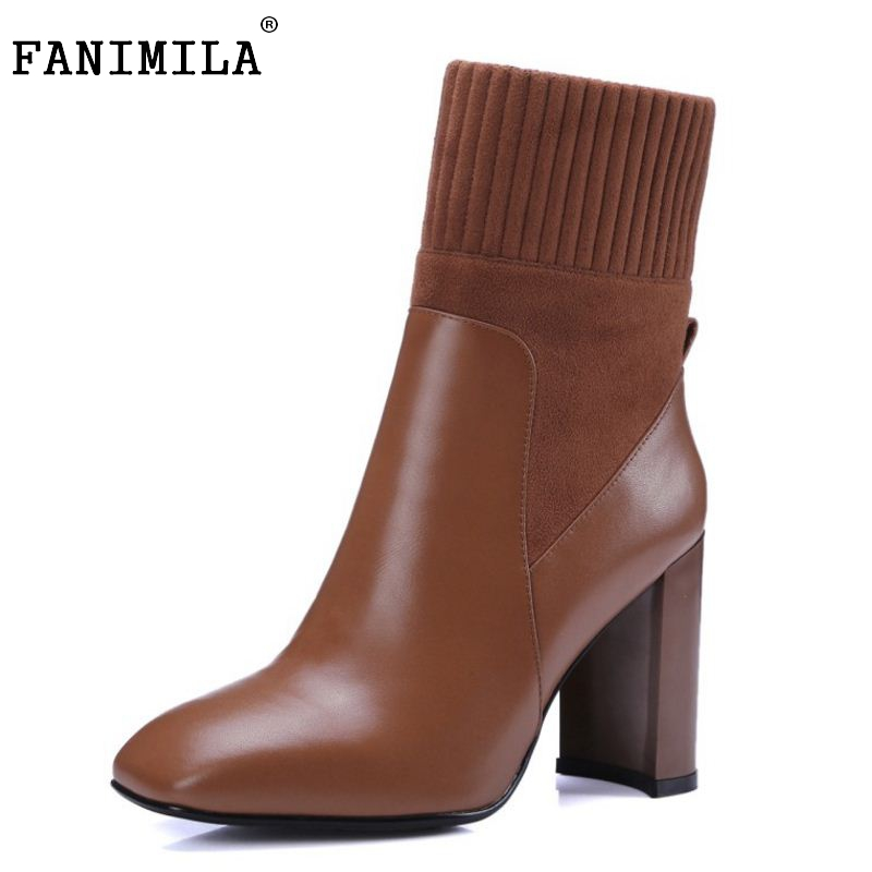 Brand New Woman Real Genuine Leather Square Heel Half Short Boots Women Retro Square Toe Heeled Shoes Footwear Size 34-39 N00178 women real genuine leather square low heel over knee boots woman square toe warm winter shoes heeled footwear size 34 39