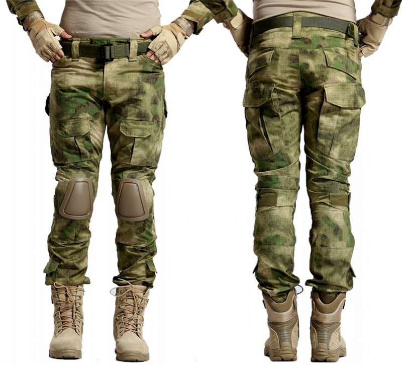 CQC Tactical Pants Cargo Men Military Hunting Airsoft Paintball Camouflage Gen2 Army BDU Combat Pants With Knee Pads A-TACS FG