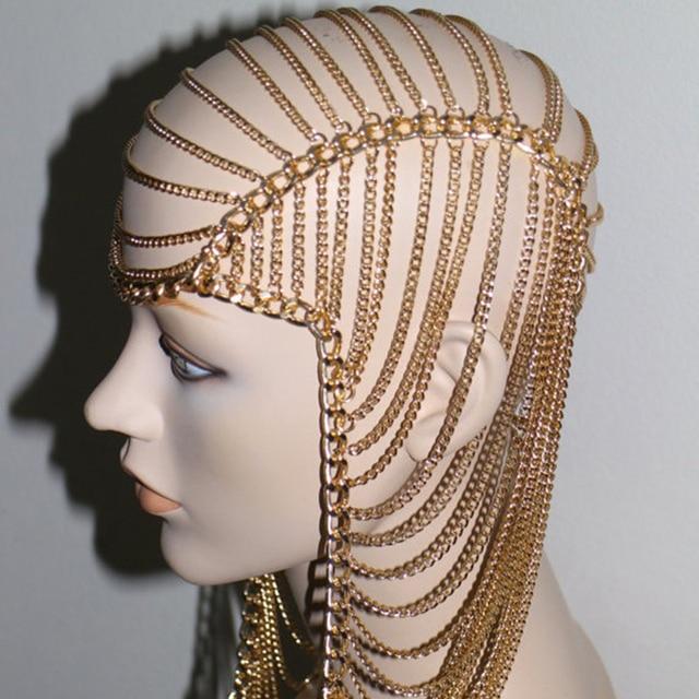 Купить женская многослойная тиара золотая цепочка для волос в стиле