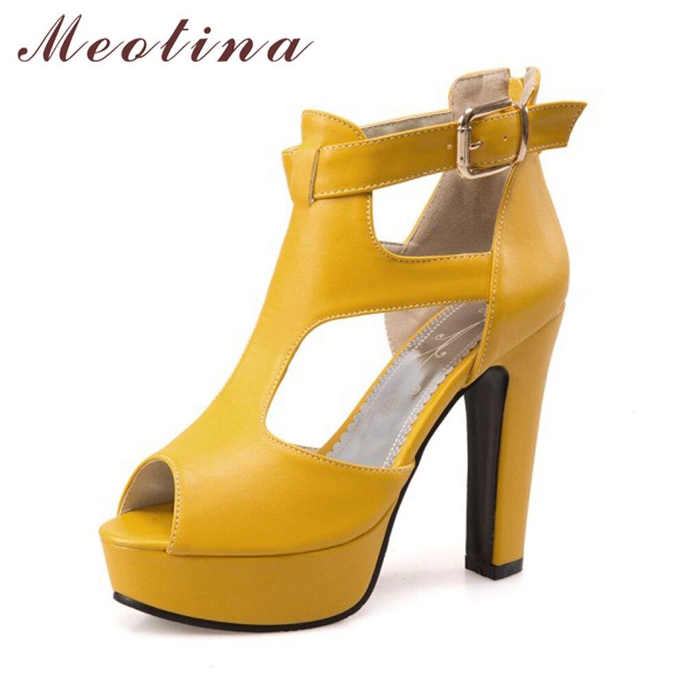Womens sandals in size 12 - Meotina Shoes Women Gladiator Shoes High Heel Sandals Spring Summer Peep Toe T Strap Platform High Heels Zip Yellow Size 12 46