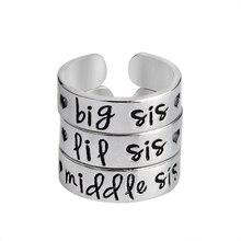 3 шт Большая сестренка средняя сестра LiL Sis набор колец Серебряный Цвет Сердце Любовь Открытие кольцо для лучших друзей сестра брат украшения из букв