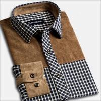Men S Slim Fit Shirt Male Corduroy Splicing Flannel Plaid Men S Dress Shirts Long Sleeve
