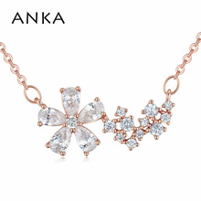 ANKA hot sell luxury star flower shape charm necklace rose gold color romantic women choker necklace zircon CZ jewelry 125629 anka luxury rose gold color flower necklace for women top zircon cz pendant necklace fashion jewelry accessories gift 125251