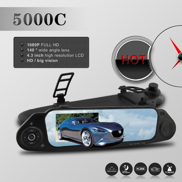 Dashcam 5000c Ntk96650 Car Rearview Mirror Camera Recorder Dvr 4.3'tft Lcd Hd 1920x1080p 140 Degree View Angle With G-sensor