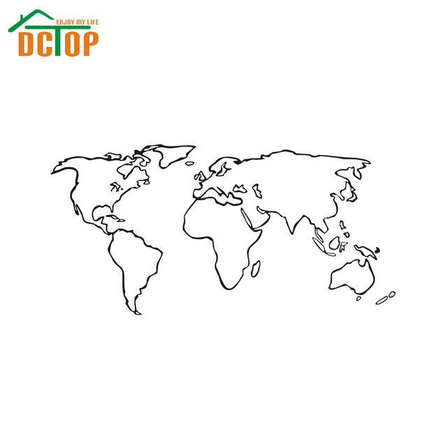 Online Shop DCTOP Large World Map Wall Stickers Home Decor Living - Large world map outline