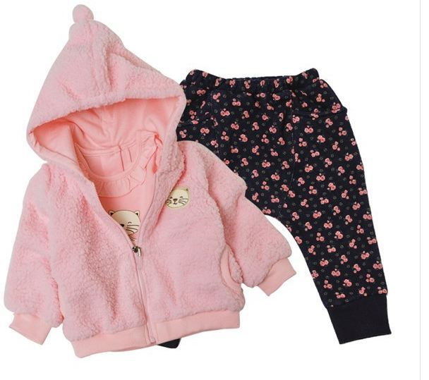 Girls candy colors in the fall and winter of three-piece suit (jacket + T-shirt + pants) free shipping in stock цена