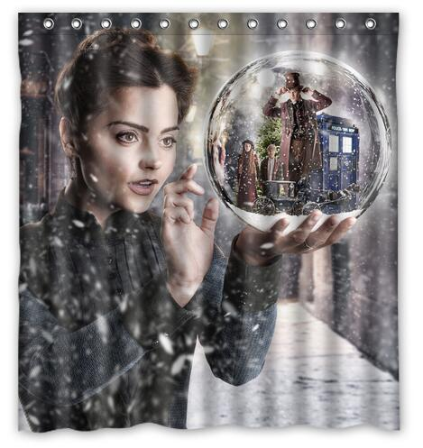 Customized Funny Snow Doctor Who TARDIS Shower Curtain Waterproof Bathroom Fabric 180x180cm For