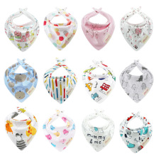 New Baby Bibs Cotton Bandana Soft Babador Feeding Smock Newborn Burp Cloths Cartoon Embroidery Stuff 2 Sides Use
