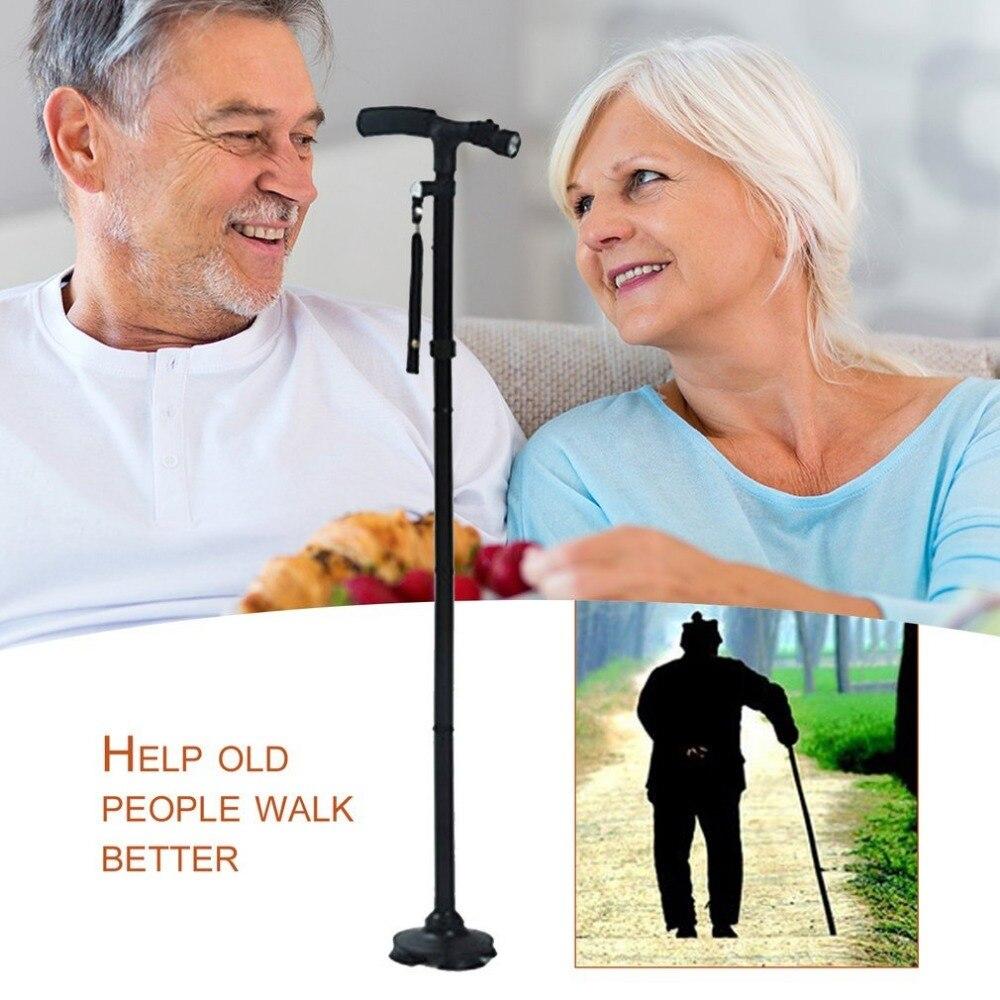 Magie Cane Folding LED Licht Sicherheit Spazierstock 4 Kopf Schwenk Treuen Basis Für Alte Mann T Lenker Trekking Pole cane Neue
