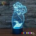 Cuento de hadas Princesa Sirena 7 Que Cambia de Color LED Luminaria Iluminación Dormitorio de La Lámpara de Luz Bebé de La Noche 3D para Niñas de Juguete de Regalo