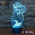 Fairy Tale Mermaid Princess 7 Color Changing LED Luminaria Baby Night Light 3D Lamp Bedroom Lighting for Girls Toy Gift