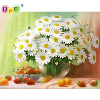 NEW 3D DIY Diamond Painting Cross Stitch White Daisies Floral Crystal Diamond Embroidery Mosaic Pattern Flower