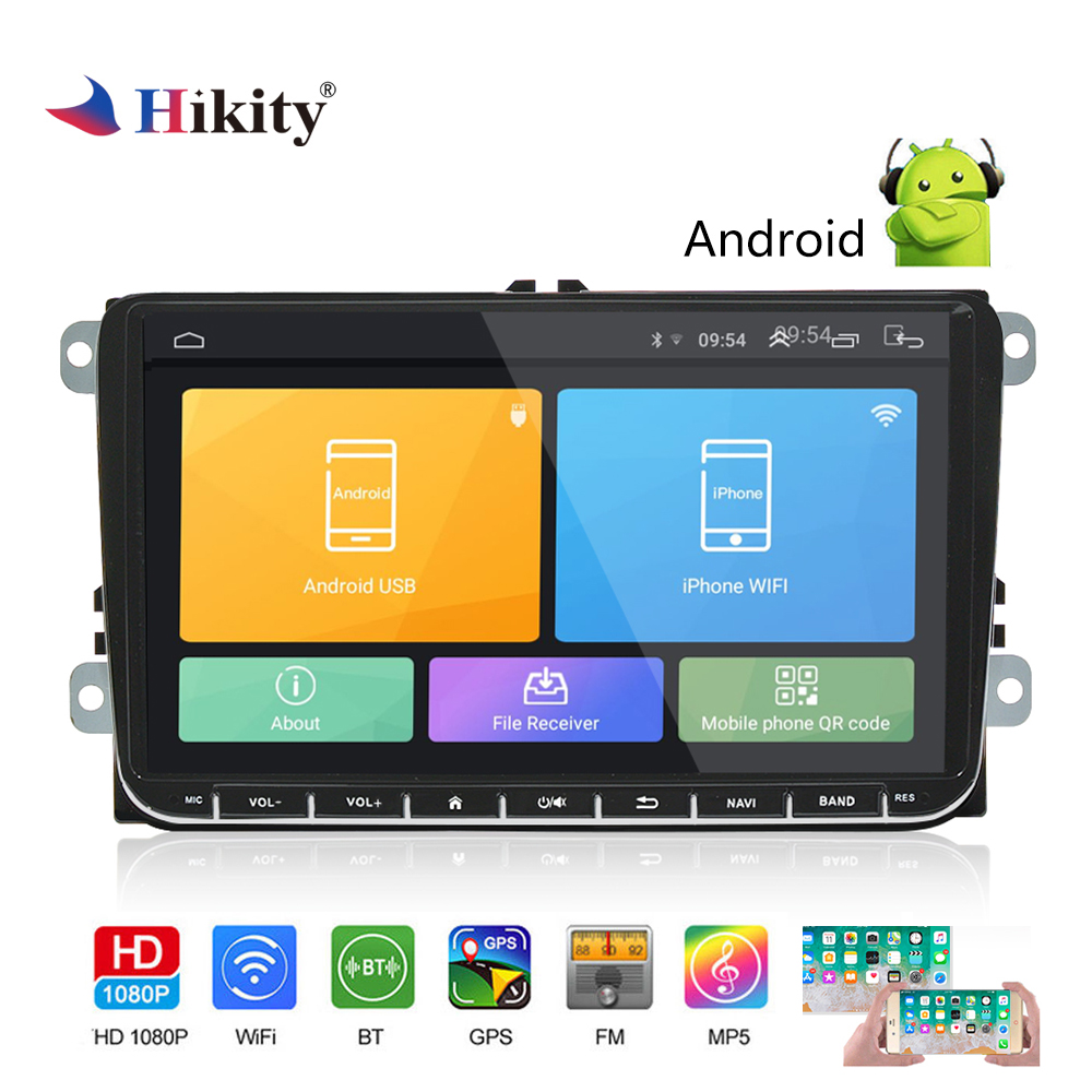 Hikity 2 Din GPS Car Radio 9 Inch Android 6.0 Car Multimedia MP5 Player Support  Mirror Link and Rear View Camera for VW CarsHikity 2 Din GPS Car Radio 9 Inch Android 6.0 Car Multimedia MP5 Player Support  Mirror Link and Rear View Camera for VW Cars