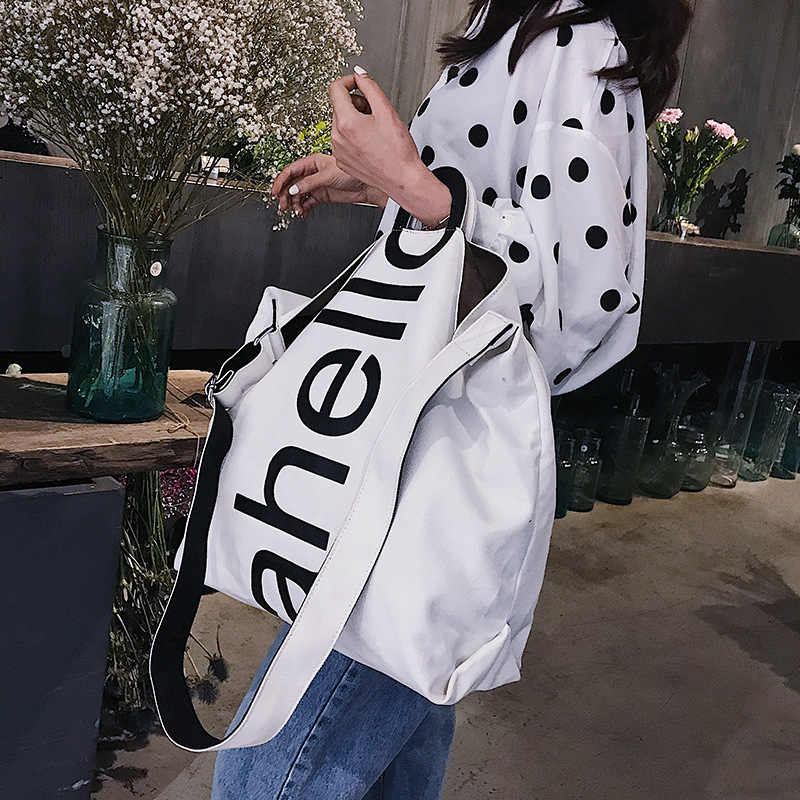 Big Bag Female 2018 New Canvas Women's Fashion Letters Portable Tote Bag Broadband Wild Large Capacity Handbag
