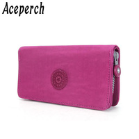 Aceperch Casual Purse Wallet Female Famous Brand Card Holders Cellphone Pocket Gifts for Women Money Bag Clutch Nylon Coin Purse