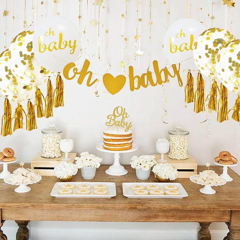 Baby Shower Decorations Neutral Decor for boy & girl Gold Banner (OH BABY) & 10PC Balloons Confetti Ribbon & Cupcake Topper Kit