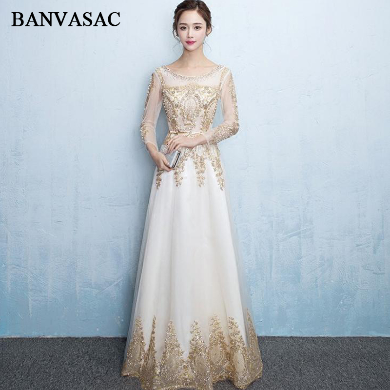BANVASAC 2018 Crystal O Neck Gold Lace Appliques Long Evening Dresses Party Sequined Sash Illusion Long Sleeve Prom Gowns in Evening Dresses from Weddings Events