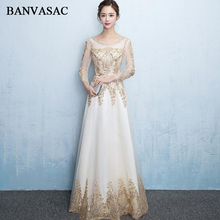 BANVASAC 2018 Crystal O Neck Gold Lace Appliques Long Evening Dresses Party Sequined Sash Illusion Sleeve Prom Gowns